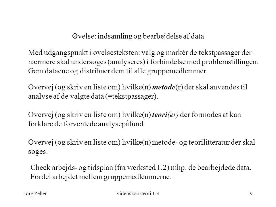 Jörg Zellervidenskabsteori 1.39 Øvelse: indsamling og bearbejdelse af data Med udgangspunkt i øvelsesteksten: valg og markér de tekstpassager der nærmere skal undersøges (analyseres) i forbindelse med problemstillingen.