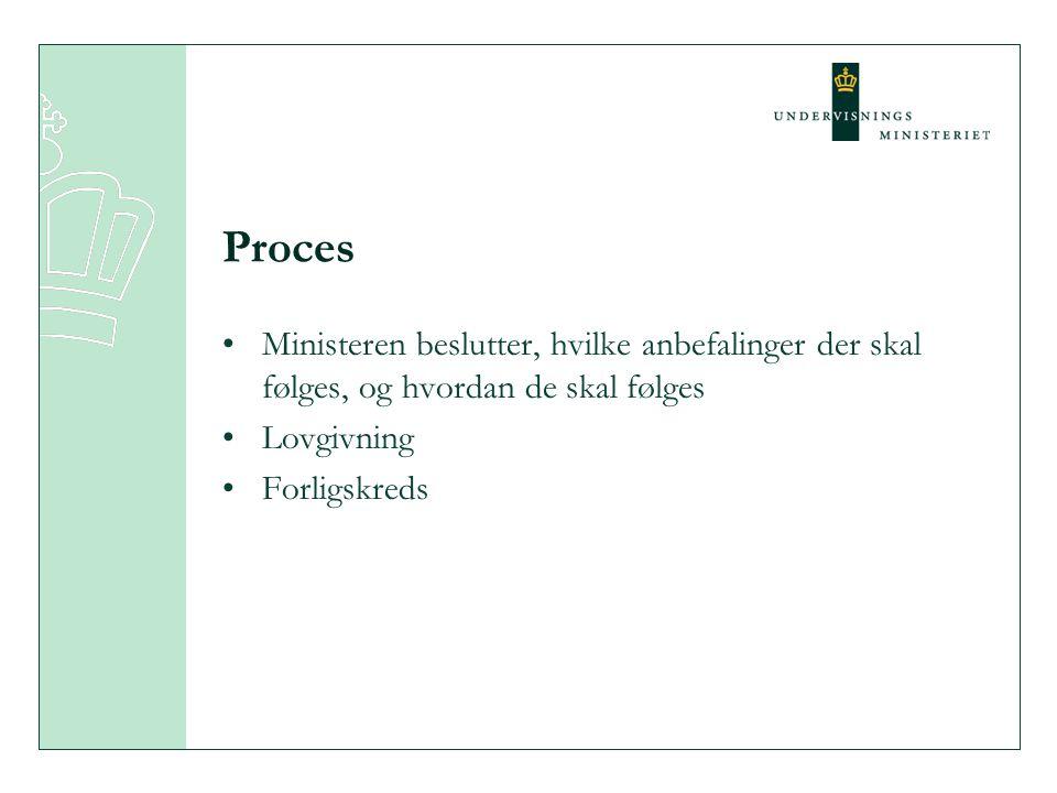 Proces Ministeren beslutter, hvilke anbefalinger der skal følges, og hvordan de skal følges Lovgivning Forligskreds
