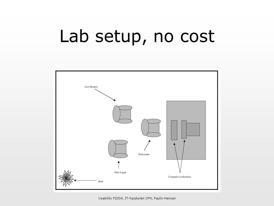 Usability F2004, IT-højskolen CPH, Paulin Hansen Lab setup, no cost