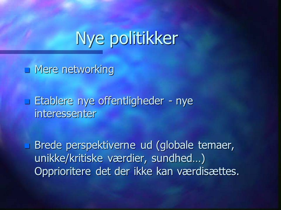Nye politikker n Mere networking n Etablere nye offentligheder - nye interessenter n Brede perspektiverne ud (globale temaer, unikke/kritiske værdier, sundhed…) Opprioritere det der ikke kan værdisættes.