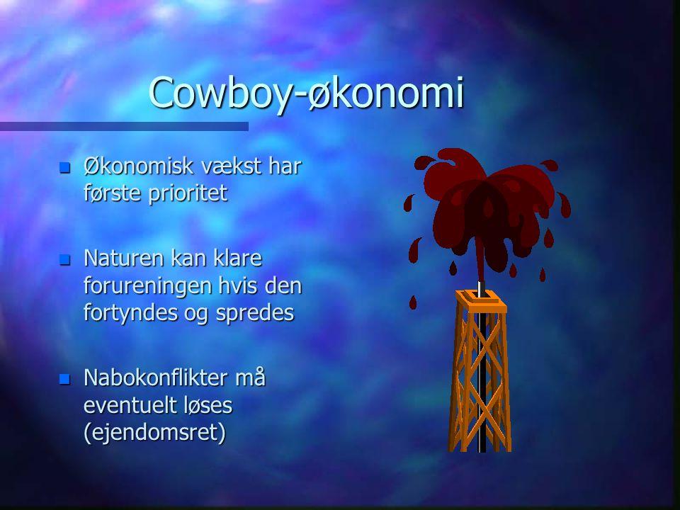 Cowboy-økonomi n Økonomisk vækst har første prioritet n Naturen kan klare forureningen hvis den fortyndes og spredes n Nabokonflikter må eventuelt løses (ejendomsret)