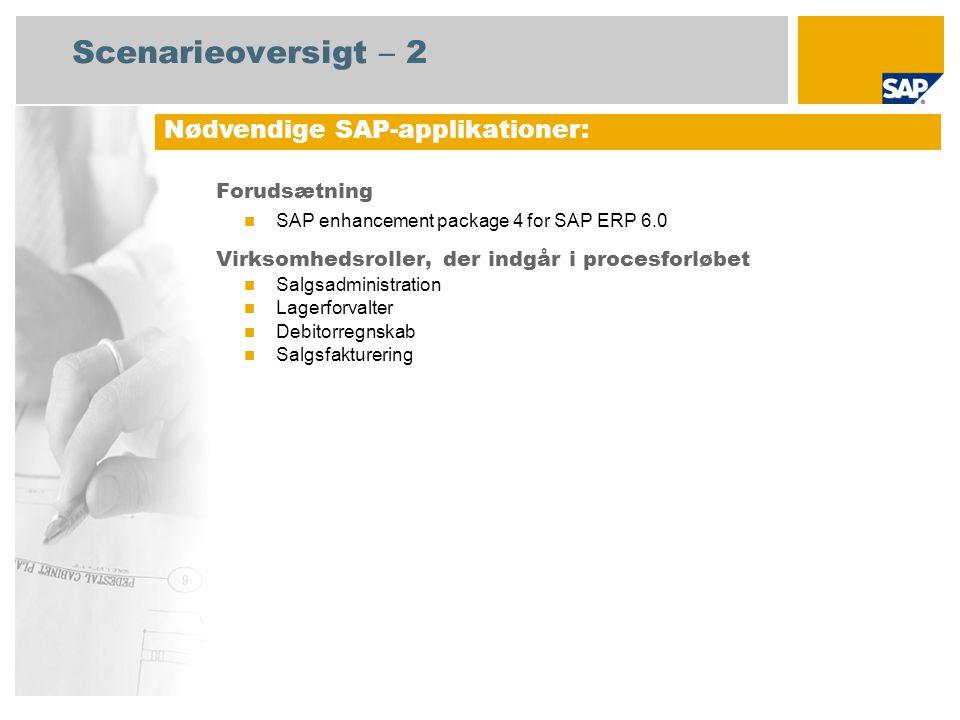 Scenarieoversigt – 2 Forudsætning SAP enhancement package 4 for SAP ERP 6.0 Virksomhedsroller, der indgår i procesforløbet Salgsadministration Lagerforvalter Debitorregnskab Salgsfakturering Nødvendige SAP-applikationer: