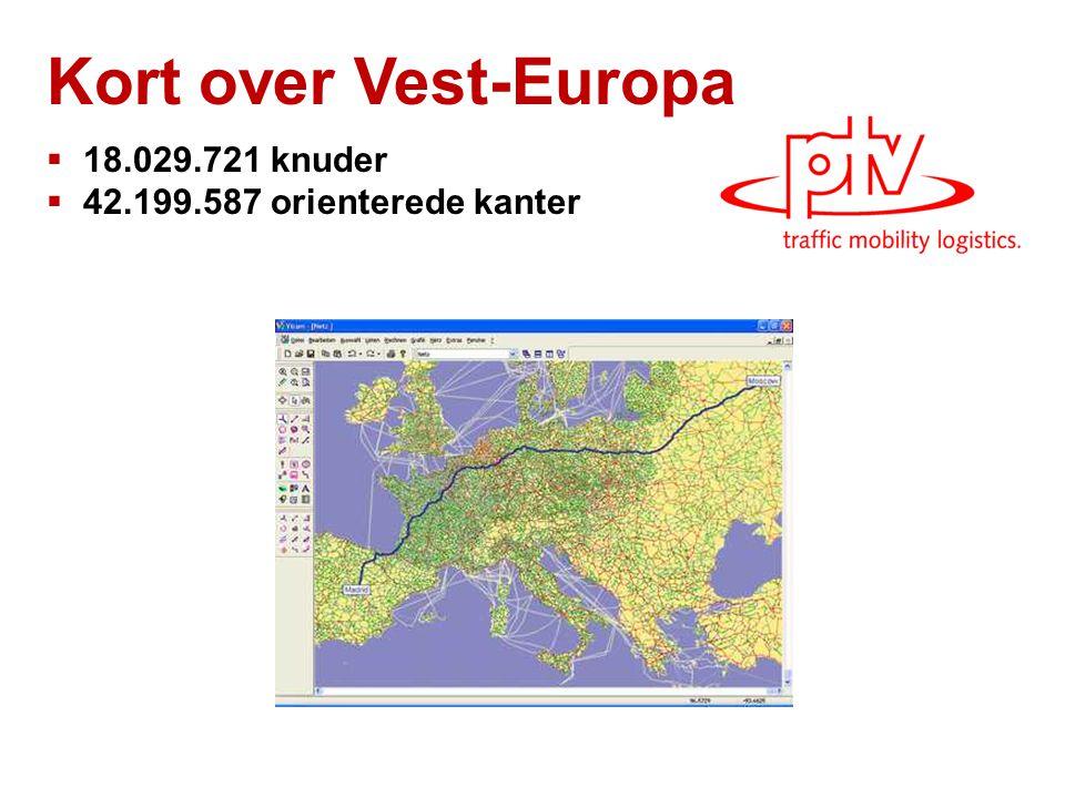 Kort over Vest-Europa  18.029.721 knuder  42.199.587 orienterede kanter