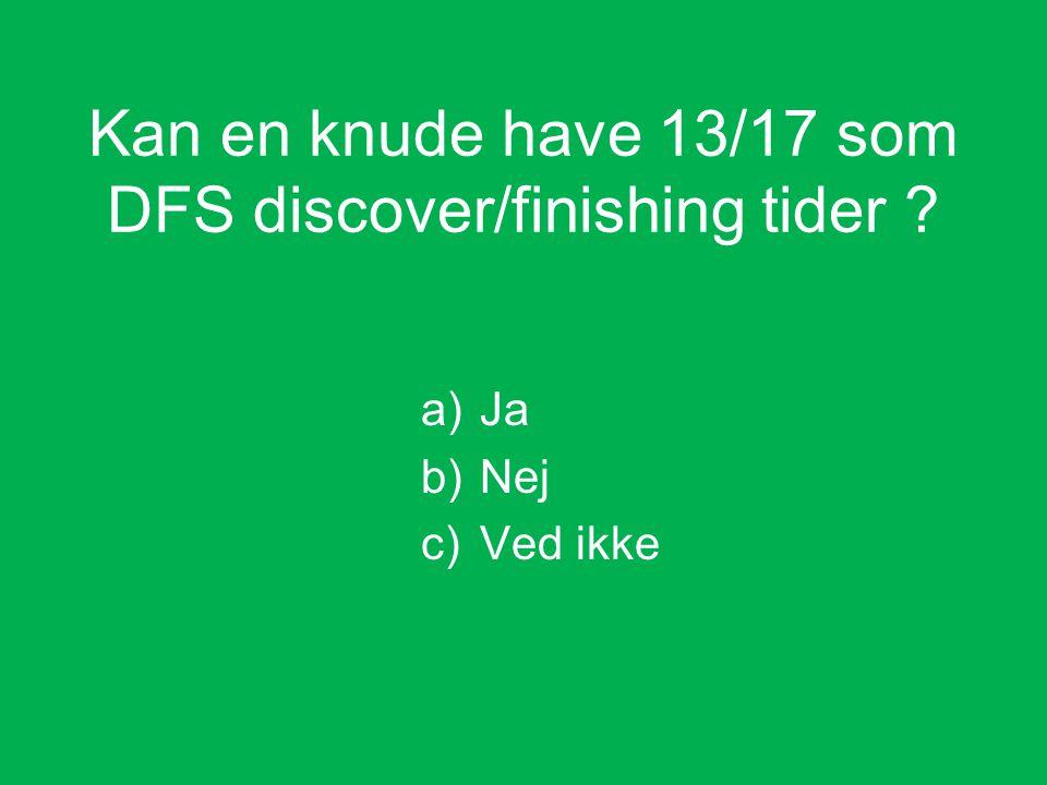 a)Ja b)Nej c)Ved ikke Kan en knude have 13/17 som DFS discover/finishing tider