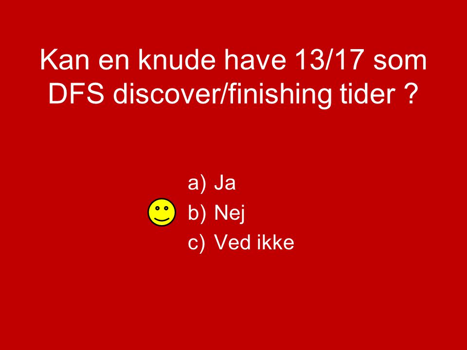 a)Ja b)Nej c)Ved ikke