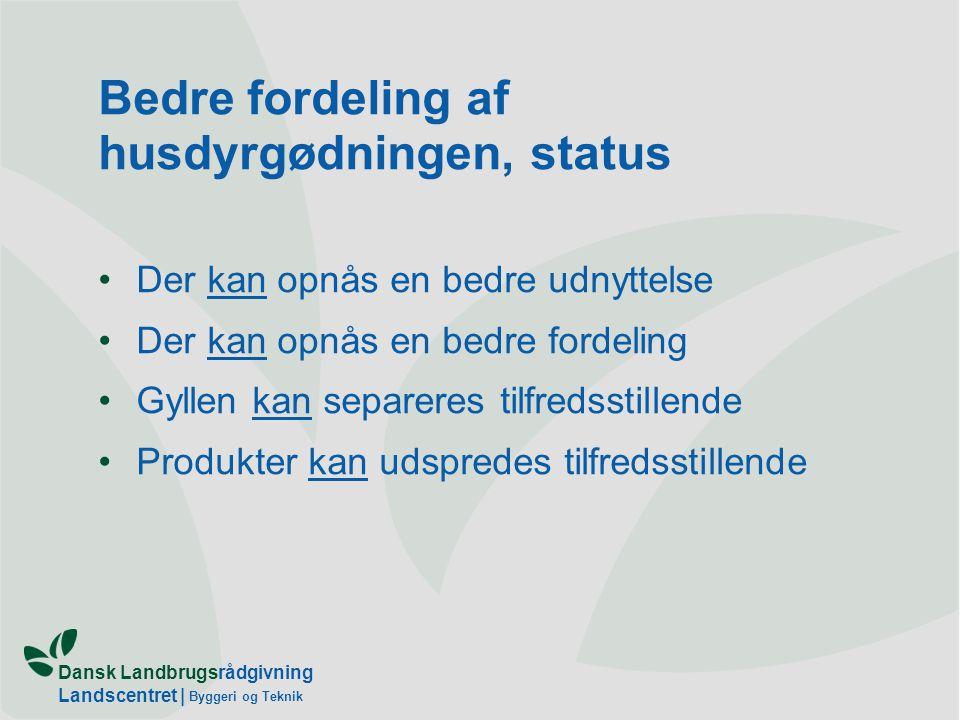 Dansk Landbrugsrådgivning Landscentret | Byggeri og Teknik Bedre fordeling af husdyrgødningen, status Der kan opnås en bedre udnyttelse Der kan opnås en bedre fordeling Gyllen kan separeres tilfredsstillende Produkter kan udspredes tilfredsstillende