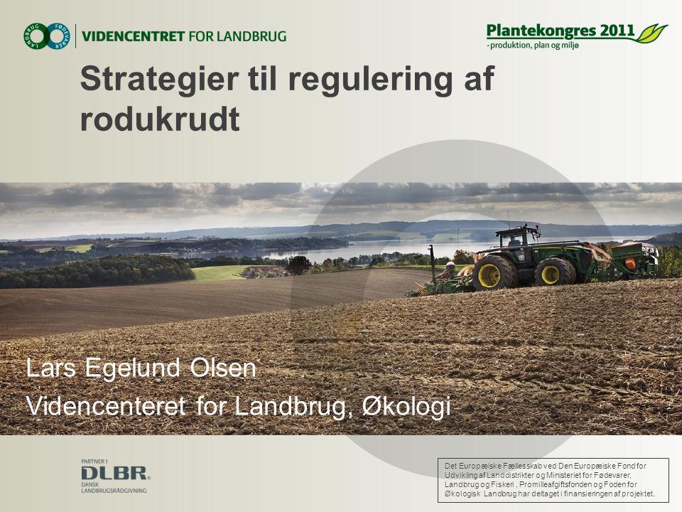 Strategier til regulering af rodukrudt Lars Egelund Olsen Videncenteret for Landbrug, Økologi Det Europæiske Fællesskab ved Den Europæiske Fond for Udvikling af Landdistrikter og Ministeriet for Fødevarer, Landbrug og Fiskeri, Promilleafgiftsfonden og Foden for Økologisk Landbrug har deltaget i finansieringen af projektet.