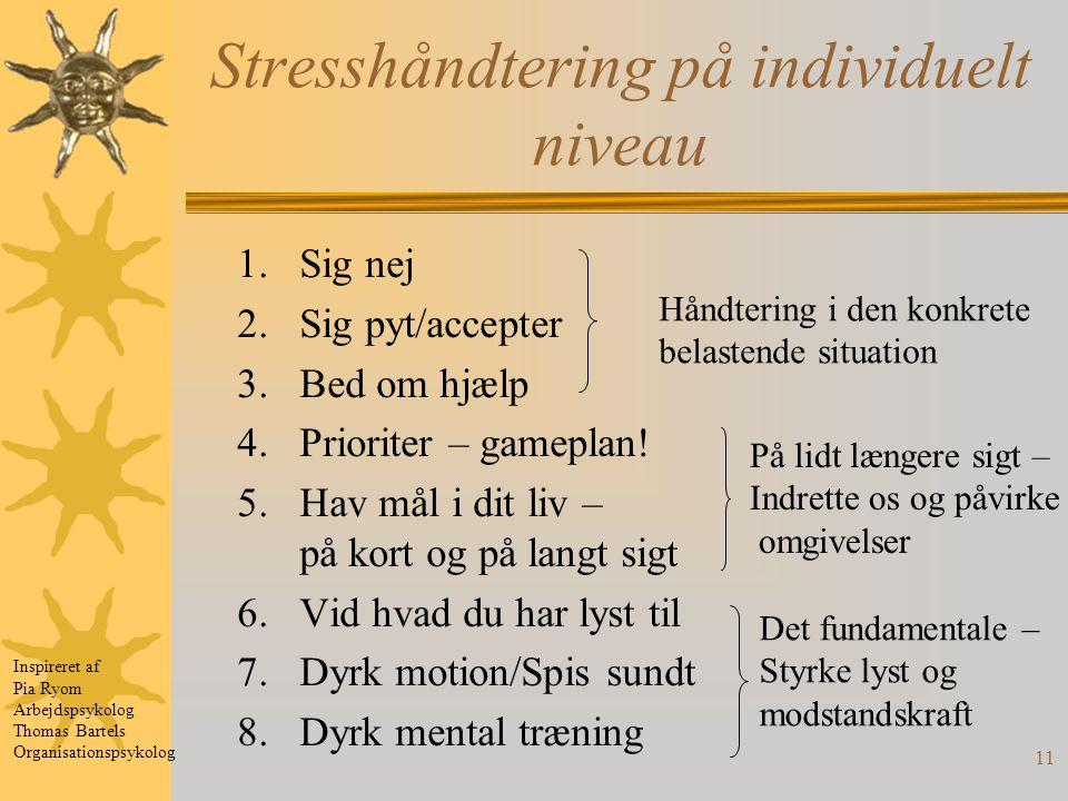 11 Stresshåndtering på individuelt niveau 1.Sig nej 2.Sig pyt/accepter 3.Bed om hjælp 4.Prioriter – gameplan.