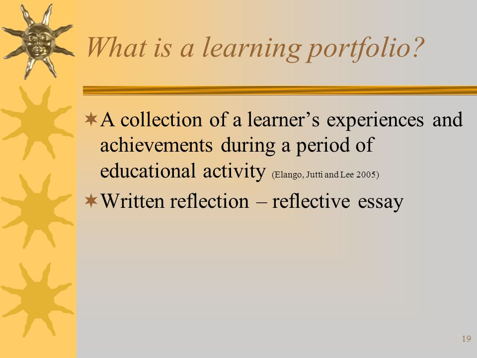 19 What is a learning portfolio.
