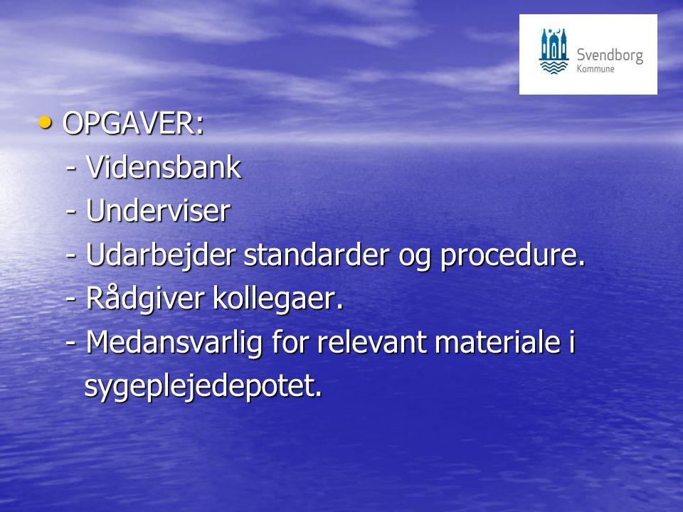 OPGAVER: OPGAVER: - Vidensbank - Vidensbank - Underviser - Underviser - Udarbejder standarder og procedure.