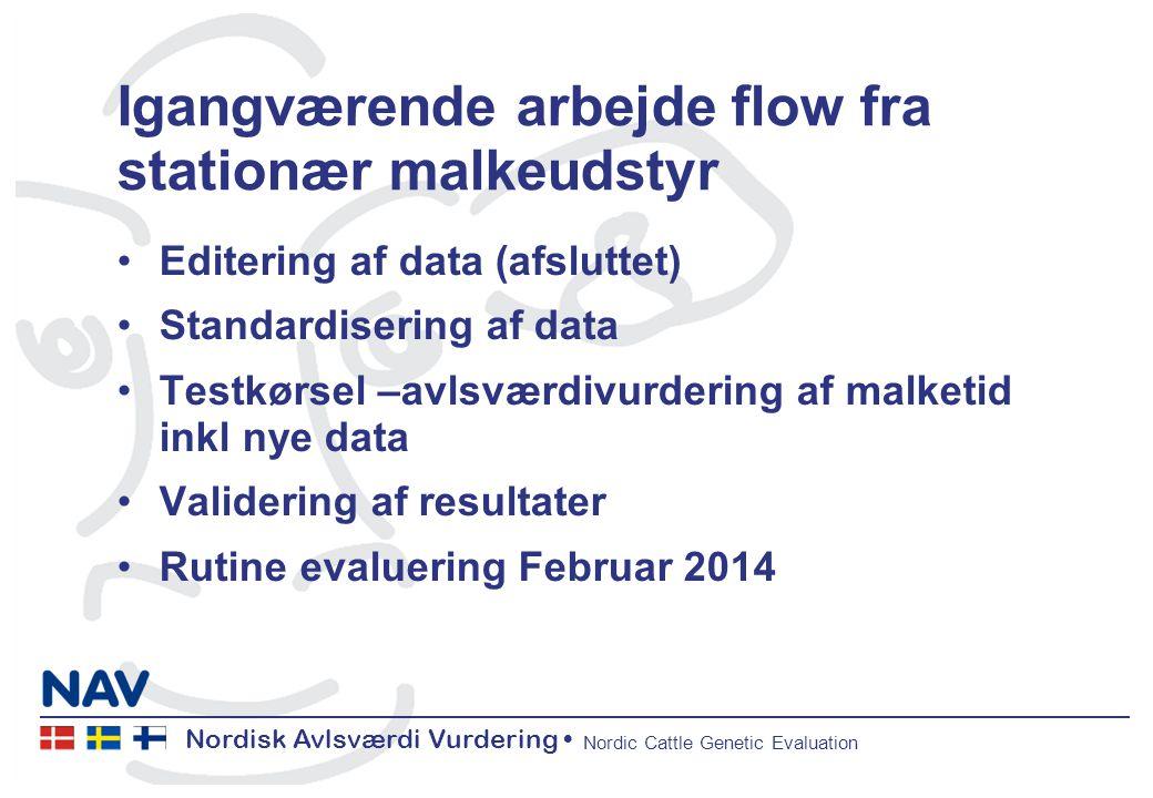 Nordisk Avlsværdi Vurdering Nordic Cattle Genetic Evaluation Igangværende arbejde flow fra stationær malkeudstyr Editering af data (afsluttet) Standardisering af data Testkørsel –avlsværdivurdering af malketid inkl nye data Validering af resultater Rutine evaluering Februar 2014