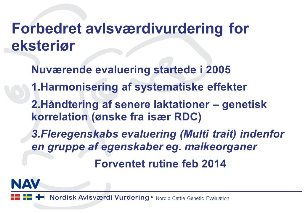 Nordisk Avlsværdi Vurdering Nordic Cattle Genetic Evaluation Forbedret avlsværdivurdering for eksteriør Nuværende evaluering startede i 2005 1.Harmonisering af systematiske effekter 2.Håndtering af senere laktationer – genetisk korrelation (ønske fra især RDC) 3.Fleregenskabs evaluering (Multi trait) indenfor en gruppe af egenskaber eg.