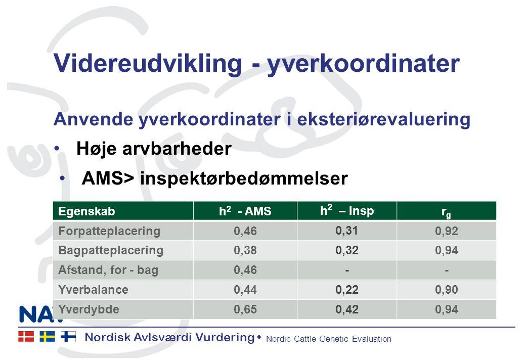 Nordisk Avlsværdi Vurdering Nordic Cattle Genetic Evaluation Videreudvikling - yverkoordinater Anvende yverkoordinater i eksteriørevaluering Høje arvbarheder AMS> inspektørbedømmelser Høje genetiske korrelationer Egenskabh 2 - AMS h 2 – Insp rgrg Forpatteplacering0,46 0,31 0,92 Bagpatteplacering0,38 0,32 0,94 Afstand, for - bag0,46 - - Yverbalance0,44 0,22 0,90 Yverdybde0,65 0,42 0,94