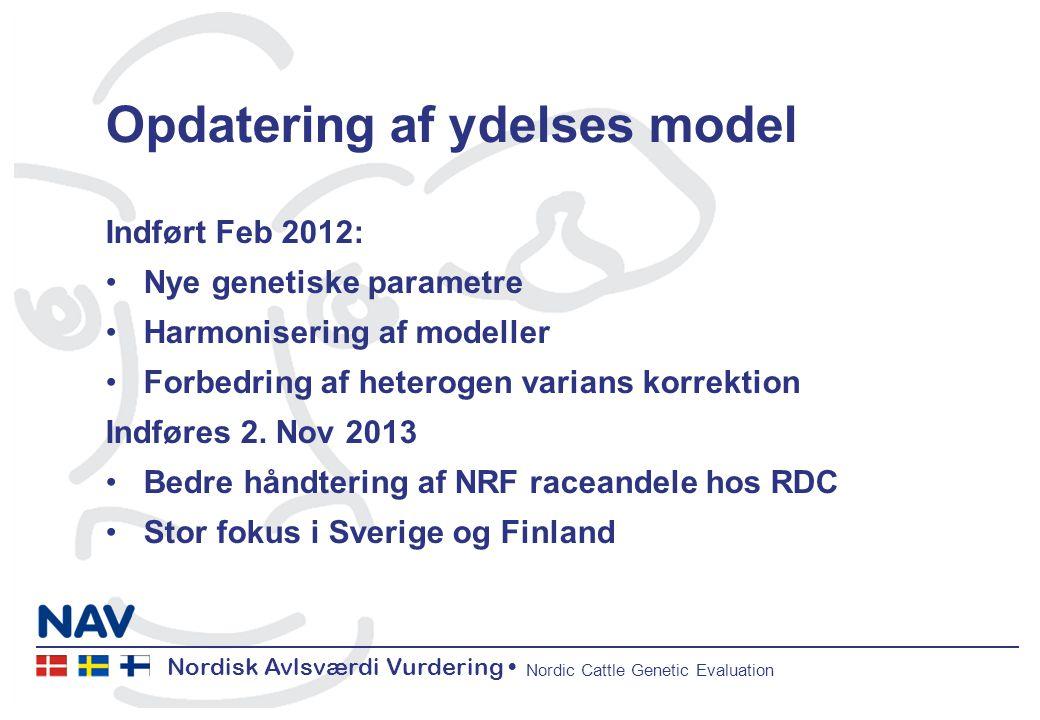 Nordisk Avlsværdi Vurdering Nordic Cattle Genetic Evaluation Opdatering af ydelses model Indført Feb 2012: Nye genetiske parametre Harmonisering af modeller Forbedring af heterogen varians korrektion Indføres 2.