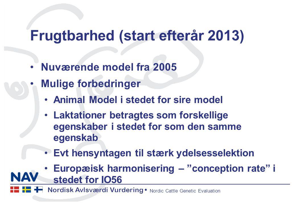 Nordisk Avlsværdi Vurdering Nordic Cattle Genetic Evaluation Frugtbarhed (start efterår 2013) Nuværende model fra 2005 Mulige forbedringer Animal Model i stedet for sire model Laktationer betragtes som forskellige egenskaber i stedet for som den samme egenskab Evt hensyntagen til stærk ydelsesselektion Europæisk harmonisering – conception rate i stedet for IO56