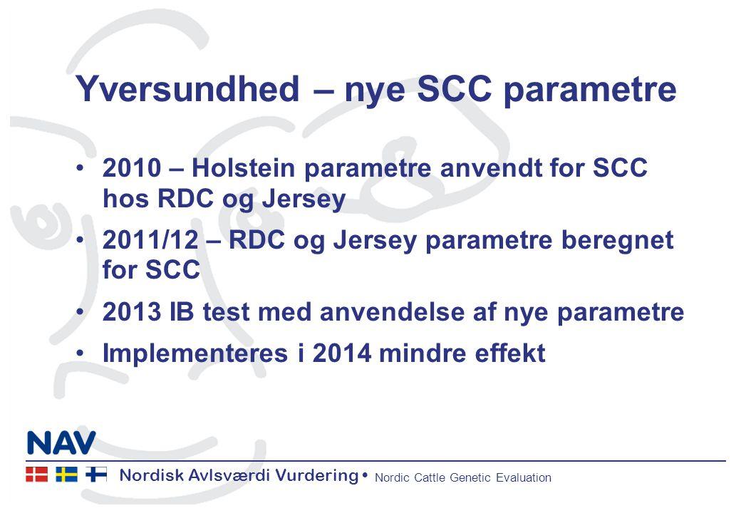 Nordisk Avlsværdi Vurdering Nordic Cattle Genetic Evaluation Yversundhed – nye SCC parametre 2010 – Holstein parametre anvendt for SCC hos RDC og Jersey 2011/12 – RDC og Jersey parametre beregnet for SCC 2013 IB test med anvendelse af nye parametre Implementeres i 2014 mindre effekt
