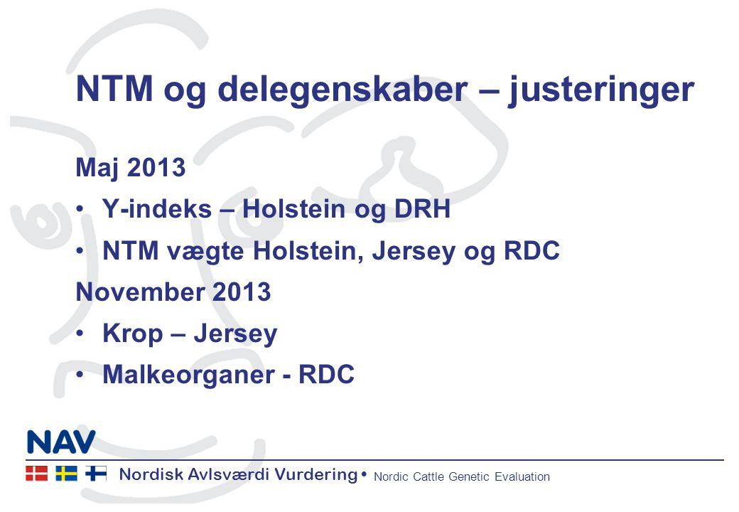 Nordisk Avlsværdi Vurdering Nordic Cattle Genetic Evaluation NTM og delegenskaber – justeringer Maj 2013 Y-indeks – Holstein og DRH NTM vægte Holstein, Jersey og RDC November 2013 Krop – Jersey Malkeorganer - RDC