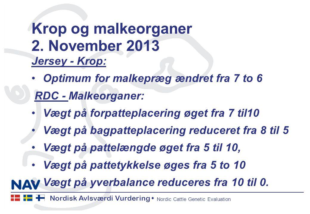 Nordisk Avlsværdi Vurdering Nordic Cattle Genetic Evaluation Krop og malkeorganer 2.