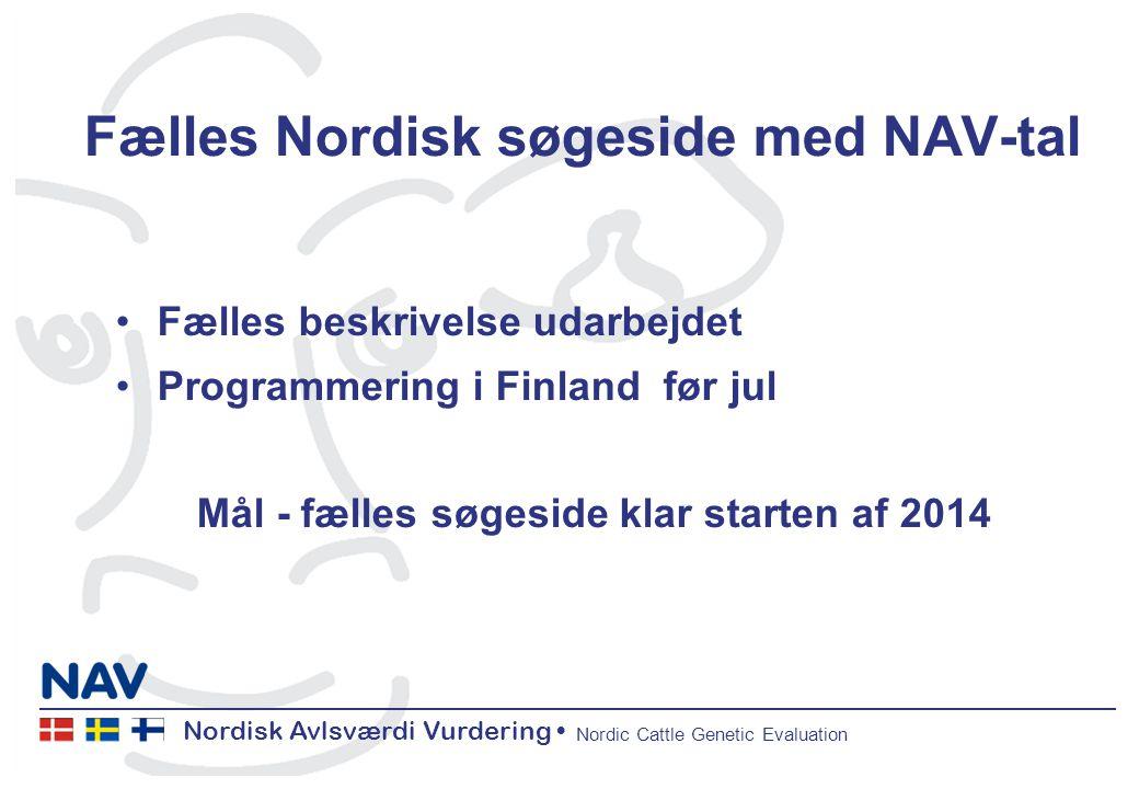 Nordisk Avlsværdi Vurdering Nordic Cattle Genetic Evaluation Fælles Nordisk søgeside med NAV-tal Fælles beskrivelse udarbejdet Programmering i Finland før jul Mål - fælles søgeside klar starten af 2014