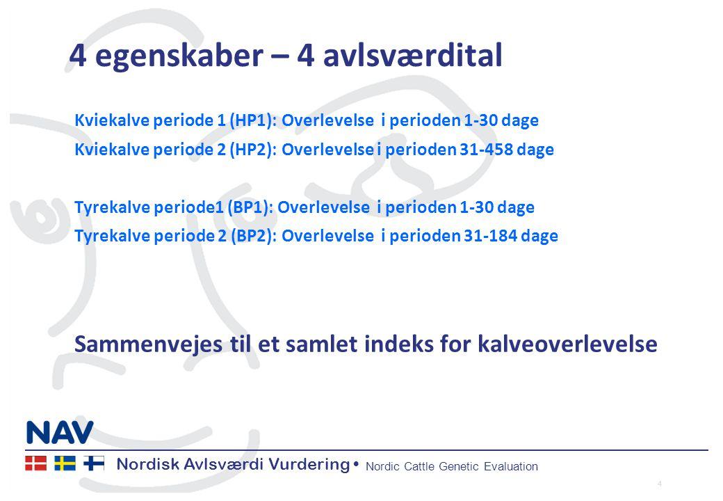 Nordisk Avlsværdi Vurdering Nordic Cattle Genetic Evaluation 4 egenskaber – 4 avlsværdital Kviekalve periode 1 (HP1): Overlevelse i perioden 1-30 dage Kviekalve periode 2 (HP2): Overlevelse i perioden 31-458 dage Tyrekalve periode1 (BP1): Overlevelse i perioden 1-30 dage Tyrekalve periode 2 (BP2): Overlevelse i perioden 31-184 dage Sammenvejes til et samlet indeks for kalveoverlevelse 4