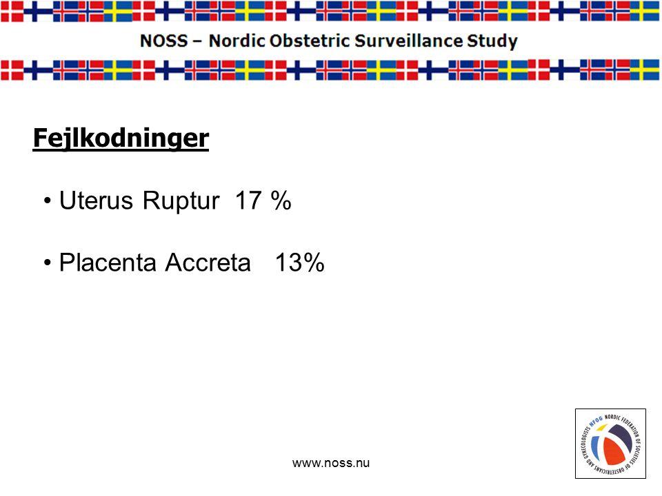 www.noss.nu Fejlkodninger Uterus Ruptur 17 % Placenta Accreta 13%