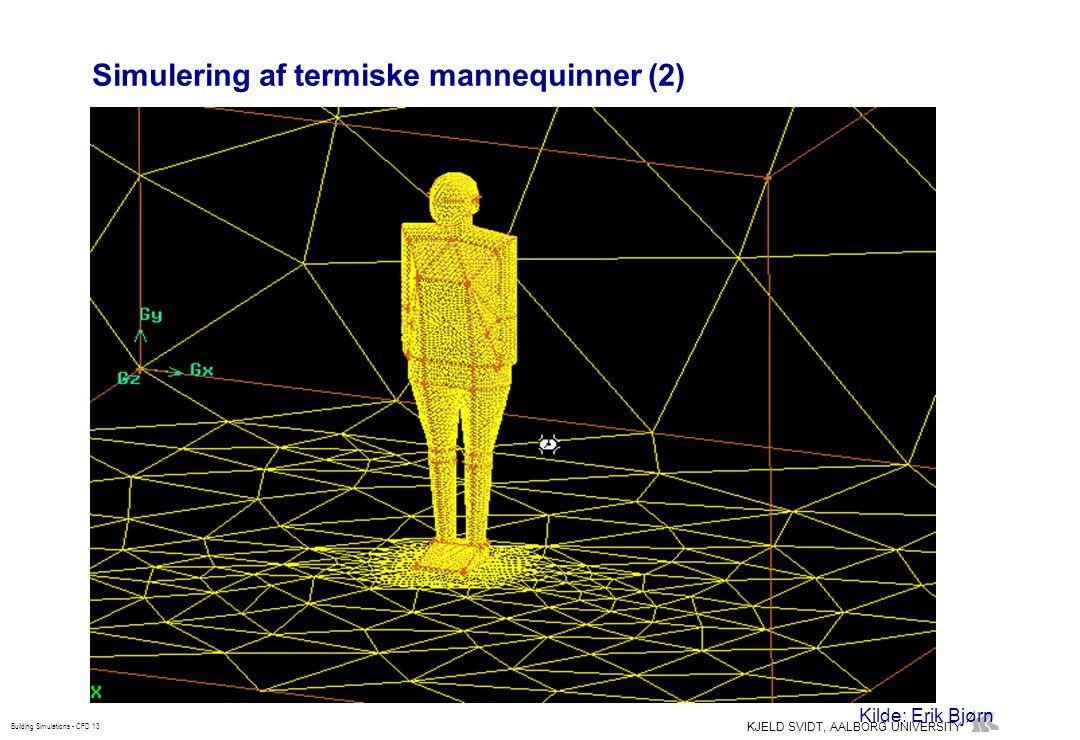KJELD SVIDT, AALBORG UNIVERSITY Building Simulations - CFD 13 Simulering af termiske mannequinner (2) Kilde: Erik Bjørn