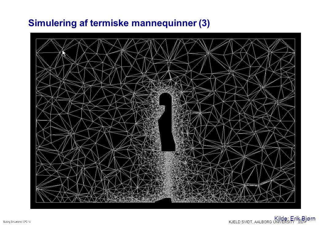 KJELD SVIDT, AALBORG UNIVERSITY Building Simulations - CFD 14 Simulering af termiske mannequinner (3) Kilde: Erik Bjørn