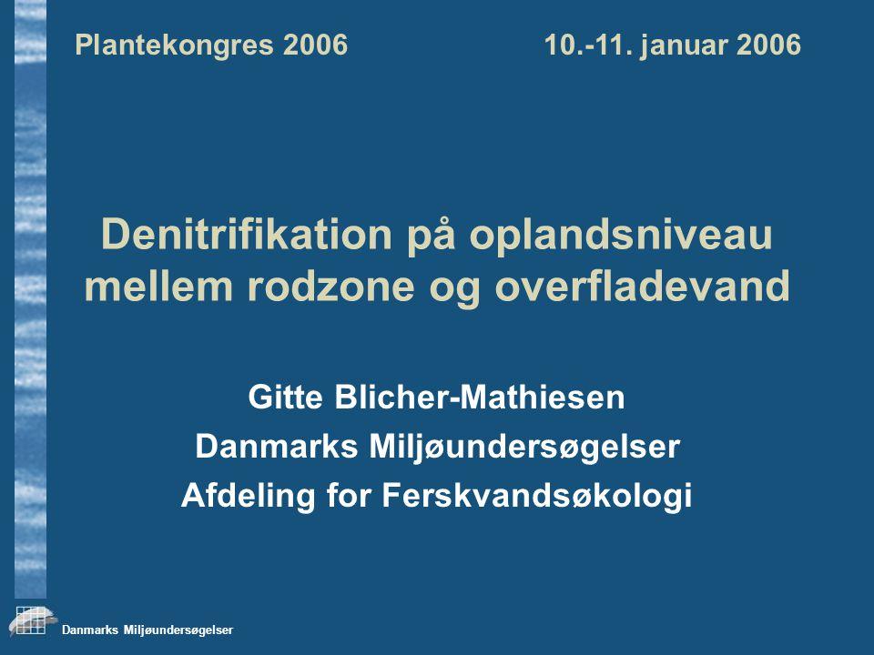Danmarks Miljøundersøgelser Denitrifikation på oplandsniveau mellem rodzone og overfladevand Gitte Blicher-Mathiesen Danmarks Miljøundersøgelser Afdeling for Ferskvandsøkologi Plantekongres 2006 10.-11.