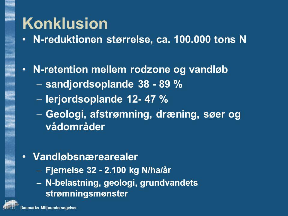 Danmarks Miljøundersøgelser Konklusion N-reduktionen størrelse, ca.
