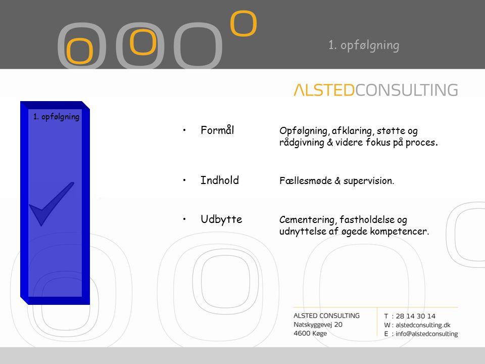 1. opfølgning Formål Opfølgning, afklaring, støtte og rådgivning & videre fokus på proces.