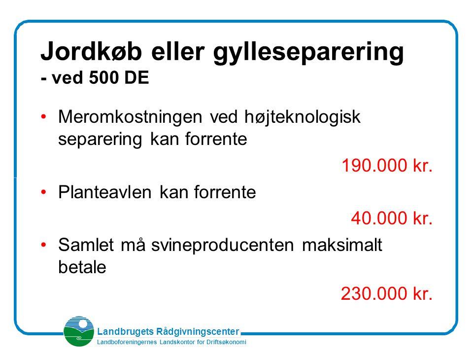 Landbrugets Rådgivningscenter Landboforeningernes Landskontor for Driftsøkonomi Jordkøb eller gylleseparering - ved 500 DE Meromkostningen ved højteknologisk separering kan forrente 190.000 kr.