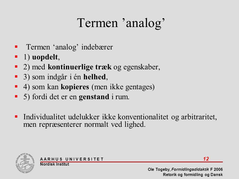 A A R H U S U N I V E R S I T E T 12 Nordisk Institut Ole Togeby, Formidlingsdidaktik F 2006 Retorik og formidling og Dansk Termen 'analog'  Termen 'analog' indebærer  1) uopdelt,  2) med kontinuerlige træk og egenskaber,  3) som indgår i én helhed,  4) som kan kopieres (men ikke gentages)  5) fordi det er en genstand i rum.