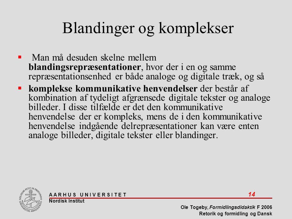 A A R H U S U N I V E R S I T E T 14 Nordisk Institut Ole Togeby, Formidlingsdidaktik F 2006 Retorik og formidling og Dansk Blandinger og komplekser  Man må desuden skelne mellem blandingsrepræsentationer, hvor der i en og samme repræsentationsenhed er både analoge og digitale træk, og så  komplekse kommunikative henvendelser der består af kombination af tydeligt afgrænsede digitale tekster og analoge billeder.