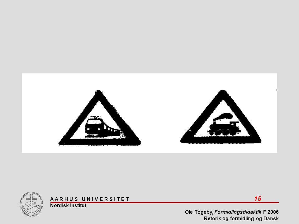 A A R H U S U N I V E R S I T E T 15 Nordisk Institut Ole Togeby, Formidlingsdidaktik F 2006 Retorik og formidling og Dansk