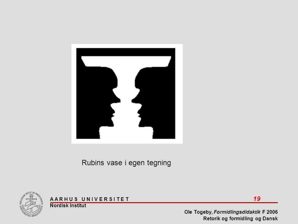 A A R H U S U N I V E R S I T E T 19 Nordisk Institut Ole Togeby, Formidlingsdidaktik F 2006 Retorik og formidling og Dansk Rubins vase i egen tegning