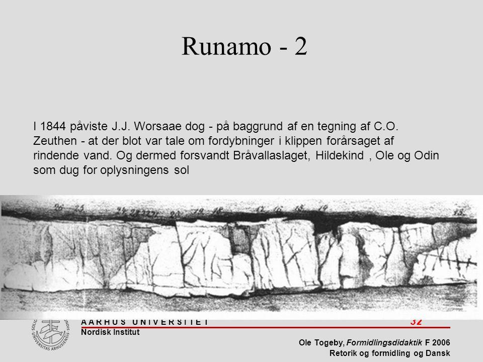 A A R H U S U N I V E R S I T E T 32 Nordisk Institut Ole Togeby, Formidlingsdidaktik F 2006 Retorik og formidling og Dansk Runamo - 2 I 1844 påviste J.J.