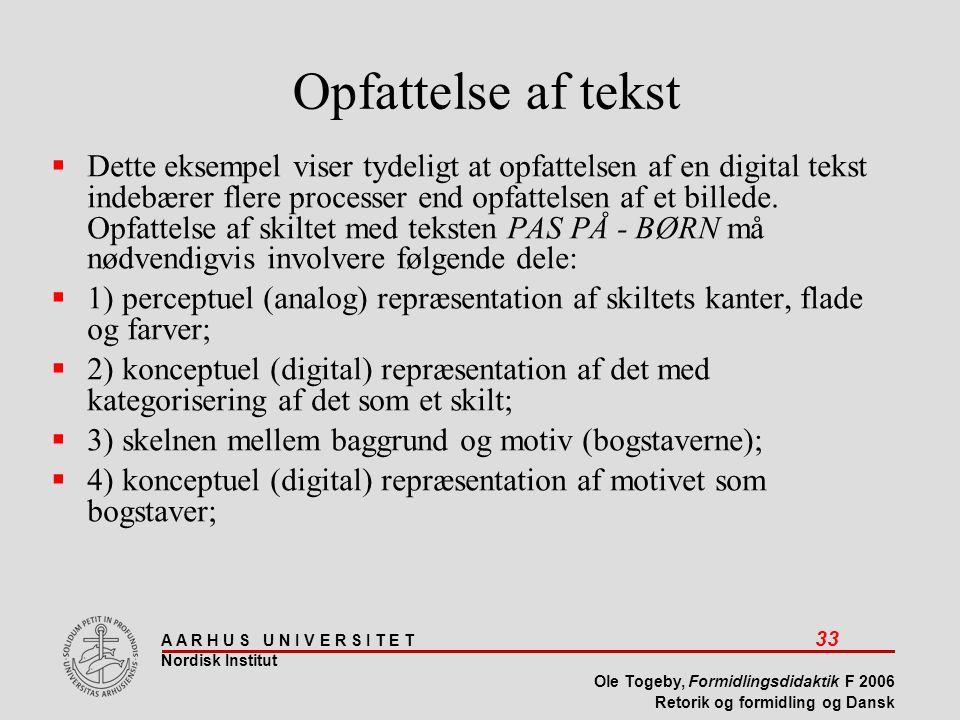 A A R H U S U N I V E R S I T E T 33 Nordisk Institut Ole Togeby, Formidlingsdidaktik F 2006 Retorik og formidling og Dansk  Dette eksempel viser tydeligt at opfattelsen af en digital tekst indebærer flere processer end opfattelsen af et billede.