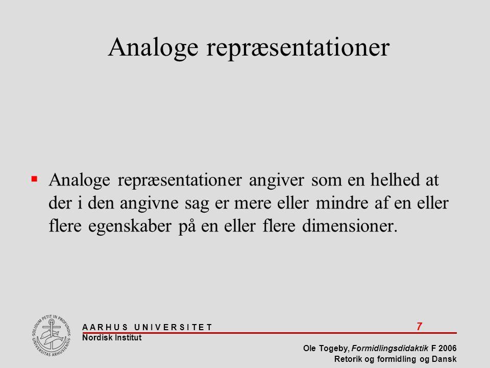 A A R H U S U N I V E R S I T E T 7 Nordisk Institut Ole Togeby, Formidlingsdidaktik F 2006 Retorik og formidling og Dansk  Analoge repræsentationer angiver som en helhed at der i den angivne sag er mere eller mindre af en eller flere egenskaber på en eller flere dimensioner.