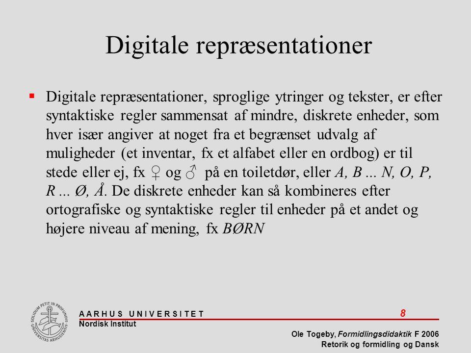 A A R H U S U N I V E R S I T E T 8 Nordisk Institut Ole Togeby, Formidlingsdidaktik F 2006 Retorik og formidling og Dansk Digitale repræsentationer  Digitale repræsentationer, sproglige ytringer og tekster, er efter syntaktiske regler sammensat af mindre, diskrete enheder, som hver især angiver at noget fra et begrænset udvalg af muligheder (et inventar, fx et alfabet eller en ordbog) er til stede eller ej, fx ♀ og ♂ på en toiletdør, eller A, B...