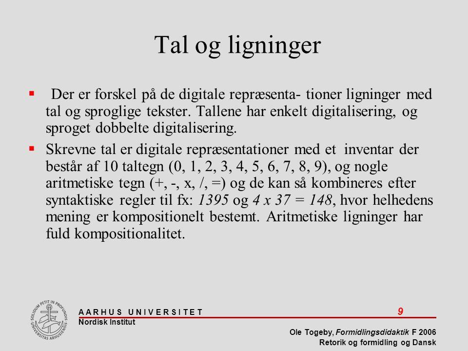 A A R H U S U N I V E R S I T E T 9 Nordisk Institut Ole Togeby, Formidlingsdidaktik F 2006 Retorik og formidling og Dansk Tal og ligninger  Der er forskel på de digitale repræsenta- tioner ligninger med tal og sproglige tekster.