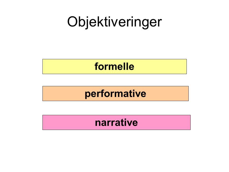 Objektiveringer formelle performative narrative