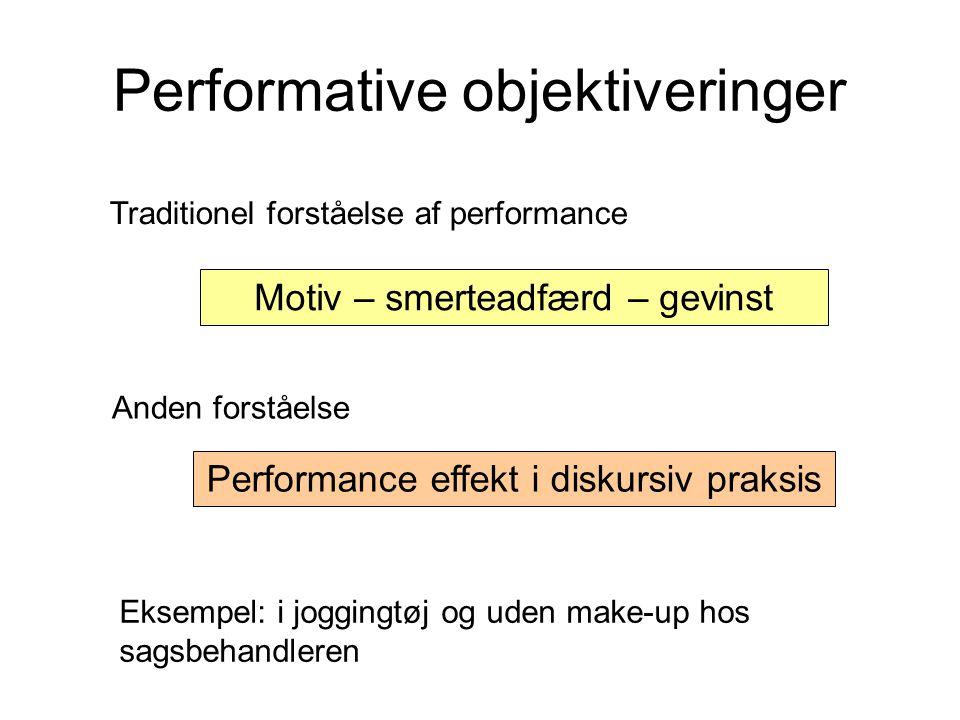 Performative objektiveringer Traditionel forståelse af performance Motiv – smerteadfærd – gevinst Anden forståelse Performance effekt i diskursiv praksis Eksempel: i joggingtøj og uden make-up hos sagsbehandleren