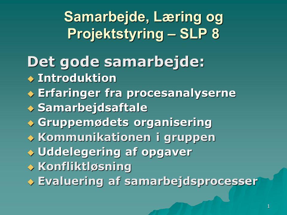 1 Samarbejde, Læring og Projektstyring – SLP 8 Det gode samarbejde:  Introduktion  Erfaringer fra procesanalyserne  Samarbejdsaftale  Gruppemødets organisering  Kommunikationen i gruppen  Uddelegering af opgaver  Konfliktløsning  Evaluering af samarbejdsprocesser