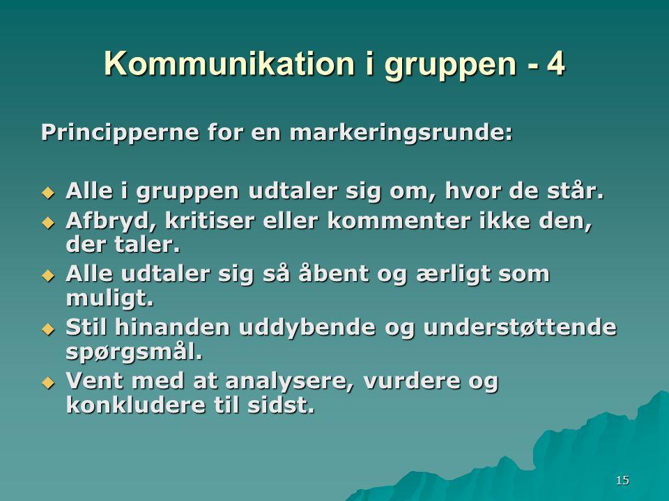 15 Kommunikation i gruppen - 4 Principperne for en markeringsrunde:  Alle i gruppen udtaler sig om, hvor de står.
