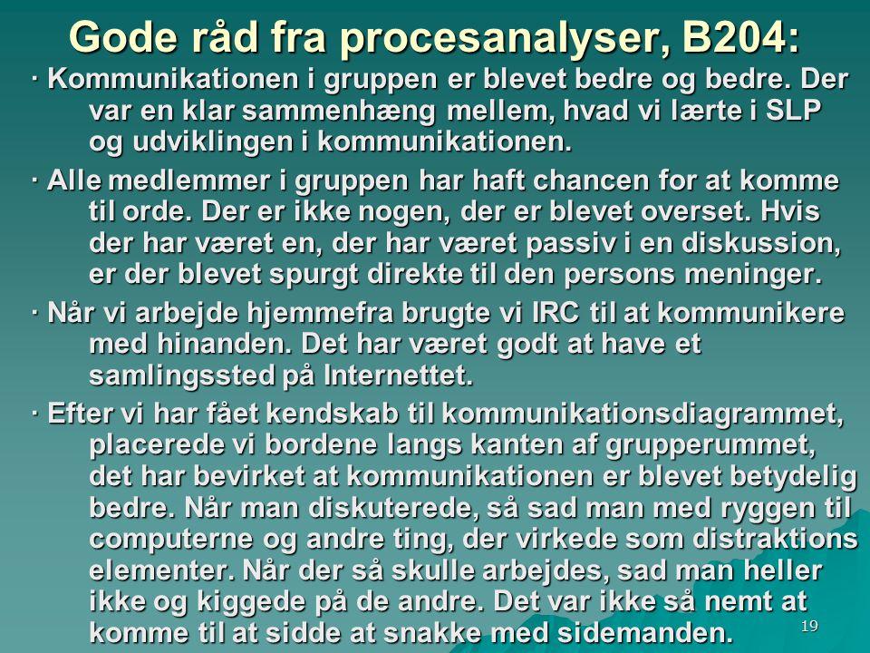 19 Gode råd fra procesanalyser, B204: · Kommunikationen i gruppen er blevet bedre og bedre.