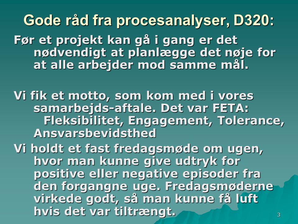 3 Gode råd fra procesanalyser, D320: Før et projekt kan gå i gang er det nødvendigt at planlægge det nøje for at alle arbejder mod samme mål.