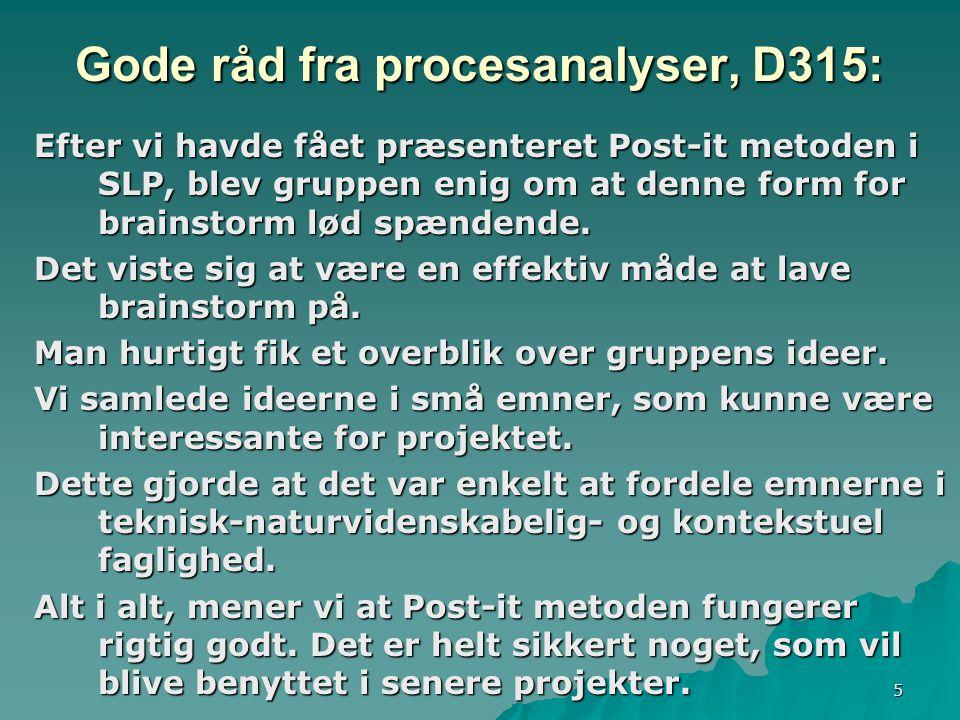 5 Gode råd fra procesanalyser, D315: Efter vi havde fået præsenteret Post-it metoden i SLP, blev gruppen enig om at denne form for brainstorm lød spændende.