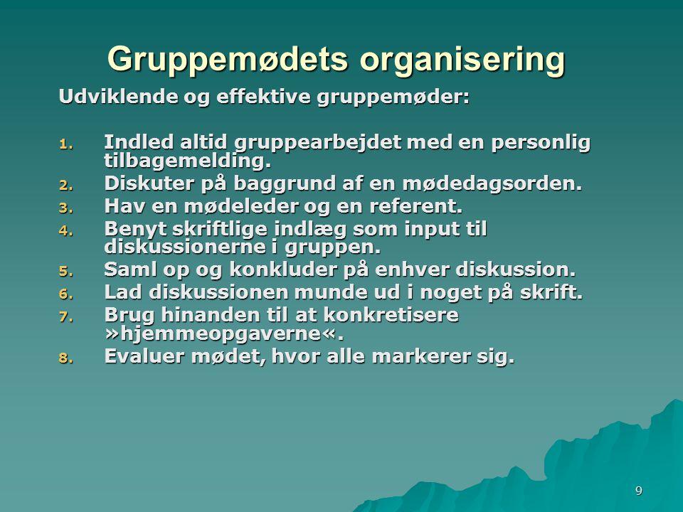 9 Gruppemødets organisering Udviklende og effektive gruppemøder: 1.