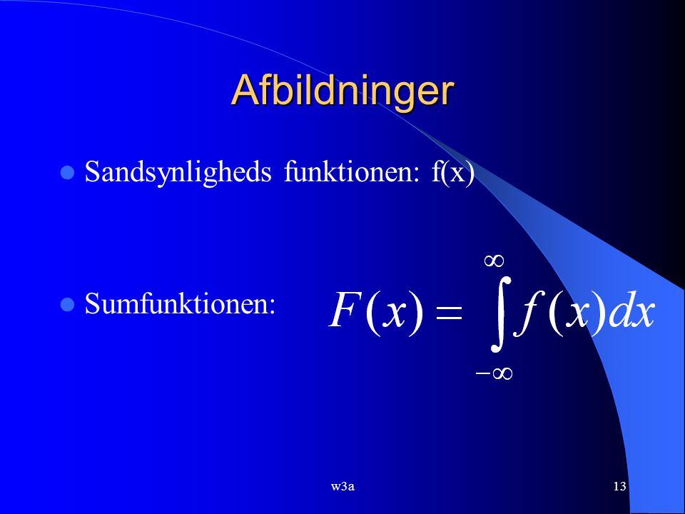 w3a13 Afbildninger Sandsynligheds funktionen: f(x) Sumfunktionen: