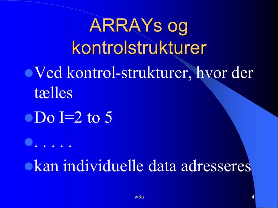 w3a4 ARRAYs og kontrolstrukturer Ved kontrol-strukturer, hvor der tælles Do I=2 to 5.....